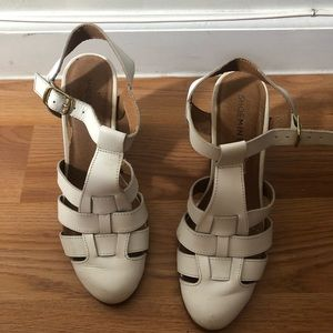 Faux leather white sandal heels